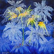 Primary Palms Blue by Denise Wright